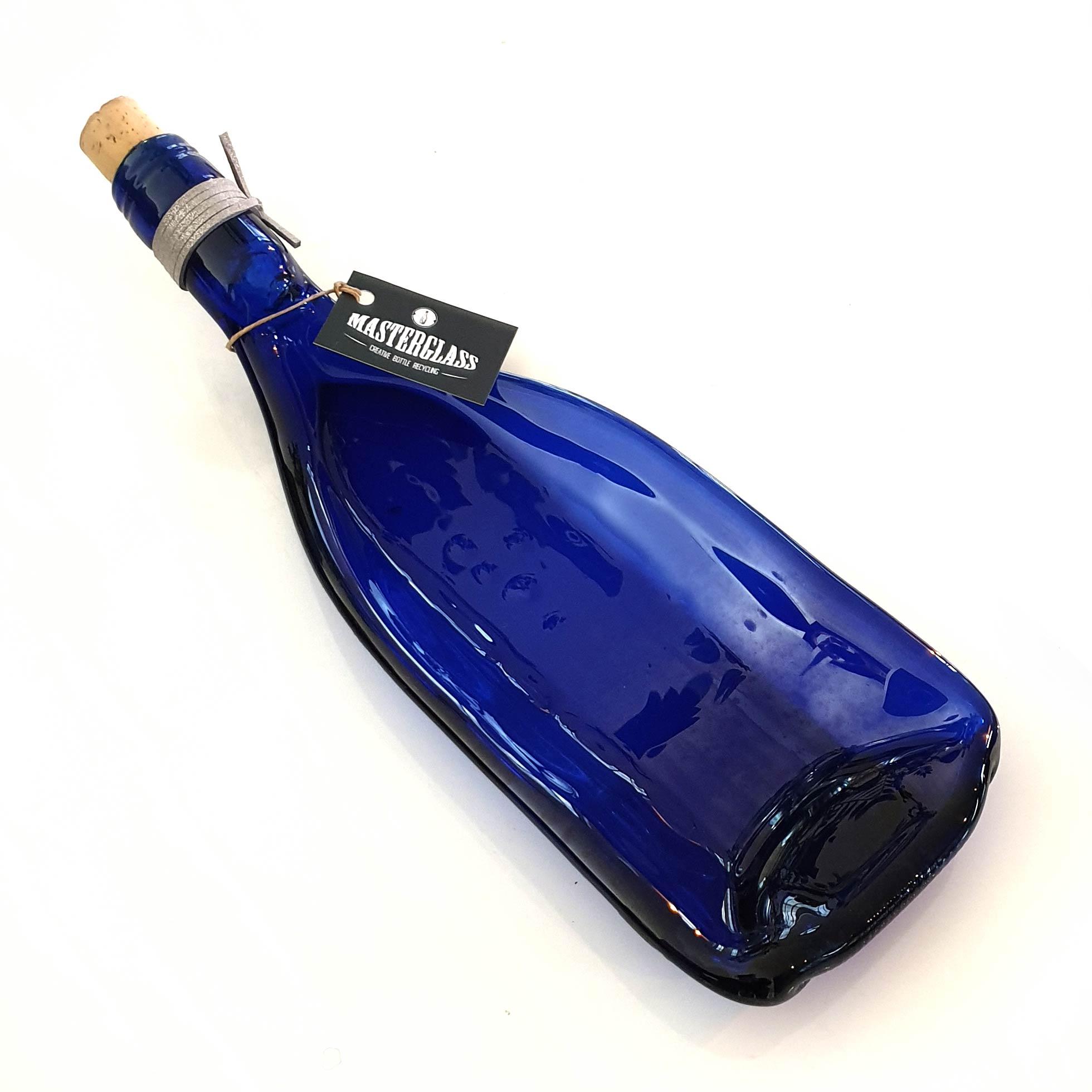 Tot borrelplank gesmolten fles Blue-Lagoon